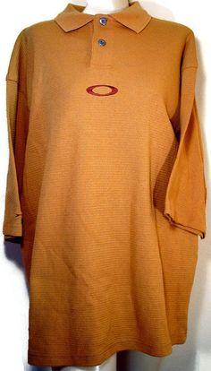 Oakley Men's Polo Golf Shirt Butterscotch 100% Cotton Size Large NEW #PoloShirt