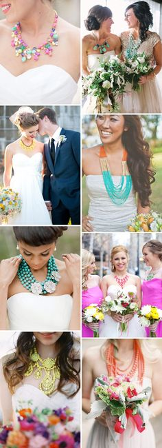 Statement Necklace - Colour - Read more on One Fab Day: http://onefabday.com/bridal-statement-necklaces/