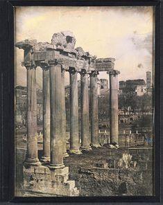 Roma. Tempio di Saturno al Foro Romano 1845 (ca) Daguerreotype, 1/2 plate