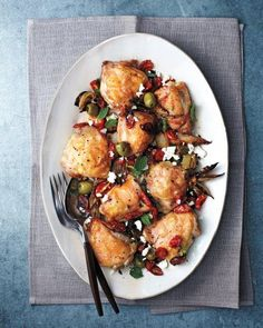 Roasted Chicken Thighs with Tomatoes, Olives, and Feta Recipe