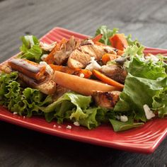 Cinnamon-Roasted Sweet Potato and Apple Salad with Caramel Vinaigrette Chicken... I love all the flavors in this salad!