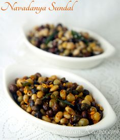 Navadhanya Sundal: Sundal made with nine kinds of lentils (or beans). This snack is very healthy. Try the recipe @ http://simpleindianrecipes.com/Home/NavadhanyaSundal.aspx