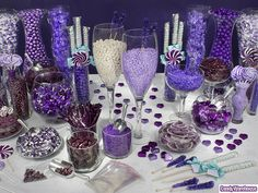 purple wedding candy buffet.