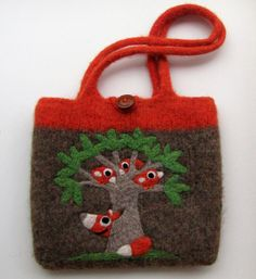 Pretty brown orange felted handbag tote with needle felted birds fox and tree