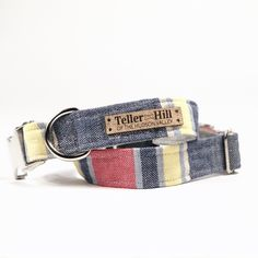 Linen Flat or Martingale Dog Collar Red, Yellow, White and Denim Blue Collar And Leash, Pet Collars, Christmas Gifts For Pet Lovers, Popular Dog Breeds, Martingale Dog Collar, Pet News, Fabric Pictures, Dog Bows, Gifts For Teens