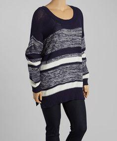 Look at this #zulilyfind! Navy & Ivory Marled Stripe Sweater - Plus by Mine Too #zulilyfinds