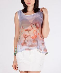 a447b31981cac Look what I found on  zulily! Pink Sheer Flamingo Slit Back Sleeveless Top