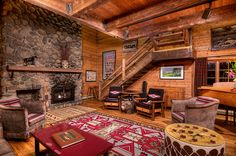 Main Lodge at the Home Ranch - simple western rustic cabin decor