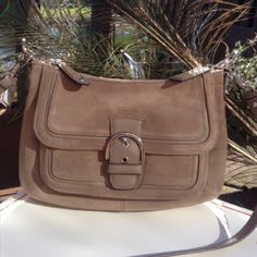 """HOST PICK Beautiful Tan Suede Coach Bag Stunning Authentic Coach Campbell Flint colored suede convertible hobo with silver hardware and leather trim Interior zip and multifunction pockets. Zip top closure and exterior snap pocket. Handle is a 9"""" drop and also includes a longer leather strap for shoulder wear. Length-13 1/2"""" x Height-7 1/2"""" NEW w/Tags $328! Coach Bags"""