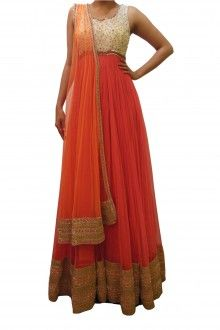 Bubber Couture Coral, White & Orange Floor Length Anarakali - scarletbindi.com