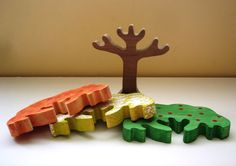 Seasons tree changeable toy hand made wooden puzzle by artsoftheheart - $25