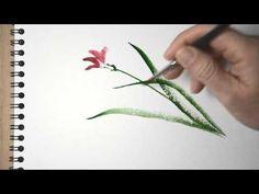 ▶ Aquarelle - peindre une orchidée sauvage - sumi-e watercolor tutorial - YouTube