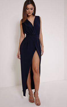 Marlisa Navy Slinky Plunge Maxi Dress Image 4