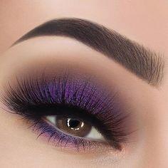 Bridal Eye Makeup, Purple Eye Makeup, Purple Eyeshadow, Smokey Eye Makeup, Eyeshadow Makeup, Makeup Brushes, Makeup Goals, Makeup Inspo, Makeup Art