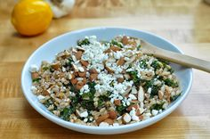 Lemony Kale & Farro Salad with Goat Cheese- Two Blue Lemons