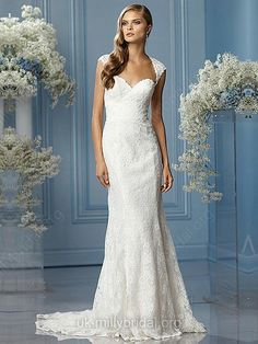 Sheath/Column Sweetheart Lace Satin Sweep Train White Draped Wedding Dresses -GBP£189.00