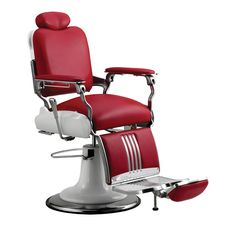 Toward the future with the durability and design of the Koken Legacy Barber Chair by Takara Belmont. Look to the past with an eye. Black or red only. Model # Optional Features and synchronized legrest (reclining handle on right side only), Towel holder. Barber Shop Chairs, Barber Shop Decor, Barber Chair, Red Barber, Barber Accessories, Salon Stations, Barbershop Design, Salon Equipment, Shop Fittings