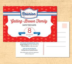 "Family Reunion Save the Date - Family Reunion Invition - 4th of July Party Postcard 4"" x 6"""