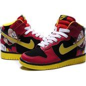 Nike Dunk SB 2012 High Cut Womens Shoes Mickey Mouse red black yellow white