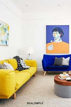 30 Easy and Unique Living Room Decorating Ideas | Don't be afraid to go bold with an eye-catching piece of art that feels less formal than a framed version. It makes this whole living room from Banner Day Interiors feel a bit brighter, more fun, and a little less formal. #realsimple #livingroomdecor #livingroomideas #details #homedecorinspo Real Simple, More Fun, Living Room Decor, Art Pieces, Feels, Decorating Ideas, Banner, Interiors, Eye