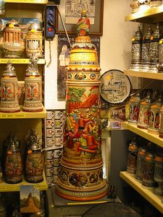 Giant beer stein, with other German steins.