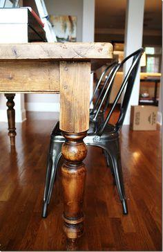 farmhouse table....thought the dark stained legs look fine on dark floor!