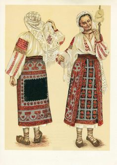 Romanian folk costume Medieval Clothing, Historical Clothing, Popular Costumes, Ukrainian Dress, Folk Embroidery, Embroidery Ideas, Folk Dance, Animal Masks, Folk Costume