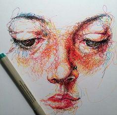 close up scribble Scribble Art, A Level Art, Pen Art, Art Sketchbook, Portrait Art, Love Art, Art Lessons, Art Inspo, Art Projects