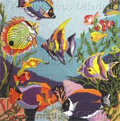 Peyote Stitch Patterns, Weaving Patterns, Needlepoint Pillows, Needlepoint Patterns, Cross Stitching, Cross Stitch Embroidery, Tropical Fish Pictures, Rainy Day Crafts, Bargello