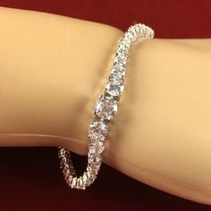 Retro 10ctw White Zircon Inline Tennis Bracelet JMA145/RH|We combine shipping|No Question Refunds|Bid over $60 for free shipping. Starting at $1