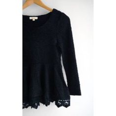 Peplum Sweater with Lace Trim Practically brand new, I ordered it and never wore it. There is no damage. Beautiful top with gorgeous lace detailing. I'm open to offers and any questions you may have ☺️ Winsome Jones Tops Blouses