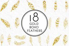 Gold Boho Feathers. Vintage Design. $6.00