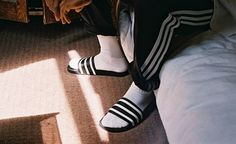 adidas Originals Highlights with Photographer Michael Mayren: As sportswear continues as a dominant trend, adidas Originals' iconic adilette slide has been Socks And Sandals, Bootie Sandals, Hypebeast, Adidas Sandals, Adidas Slides, Swiss Style, Adidas Originals, The Originals, Mens Fashion Blog