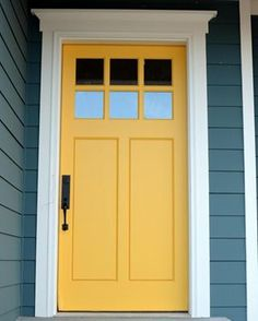 Your front door is the first thing that people see when they look at your home. The good news is that there are plenty of front door color ideas to choose from, so you'll… Continue Reading → House Paint Exterior, Exterior Paint Colors, Exterior House Colors, Paint Colors For Home, Exterior Door Trim, Paint Colours, Wall Colors, Exterior Design, Yellow Front Doors