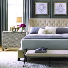 Bernhardt Interiors | Maxime upholstered bed, Mansfield bench in hair-or-hide, Herringbone inlaid chest – shades of blue