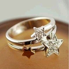 Min.order is $15 (mix order) Hot! Fashion Exquisite Alloy Rhinestone 3 Star Ring 17mm,mixed wholesale all rings KJ0041112-in Rings from Jewelry on Aliexpress.com