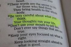 As you think, you will become. Proverbs 4:23