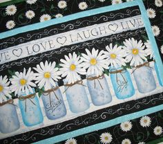 Daisy Table Runner, with Canning Jars made with Timeless Treasures Fabric by PicketFenceFabric on Etsy