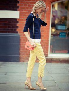 Paul Smith sweater, Rag & Bone top, Dolce & Gabbana trousers, Manolo Blahnik heels, Chloe bag, Ray Ban sunglasses
