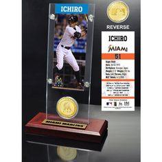 Miami Marlins Ichiro Suzuki Ticket & Bronze Coin Acrylic Desk Top