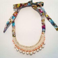 cotton pearl crochet necklace