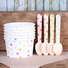 Rainbow Polka Dot Ice Cream Cups & Wooden Spoon Set, Rainbow Party Ice Cream Cups, Easter Ice Cream Cups, Baby Sprinkle (Set of Sundae Party, Polka Dot Party, Ice Cream Social, Best Ice Cream, Ice Cream Party, Ice Cream Cups, Ice Cream Scoop, Icecream Bar, 2nd Birthday Parties