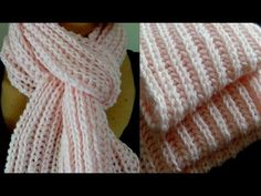 Brioche Stitch Scarf en 2 agujas o palitos Knitting Paterns, Crochet Dolls Free Patterns, Knitting Videos, Crochet Videos, Lace Knitting, Knitting Designs, Knitting Stitches, Crochet Quilt, Knit Crochet