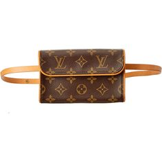Louis Vuitton Monogram Canvas Pochette Florentine ($450) ❤ liked on Polyvore featuring bags, nocolor, brown canvas bag, canvas bags, monogram canvas bag, pre owned bags and louis vuitton bags