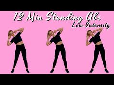 Standing Ab Exercises, Standing Abs, Senior Fitness, Fitness Tips, Health Fitness, Tone It Up Abs, Keep Fit, Easy Workouts, Workout Videos