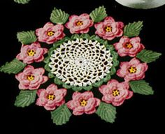 Rose Doily crochet pattern from Crochet Gay & Gifty Ideas, originally published by American Thread Company, Star No. 80, from 1951.