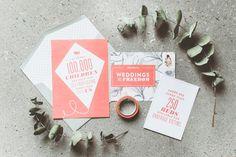 coral wedding invitations - photo by Paper Antler http://ruffledblog.com/weddings-for-freedom-bridal-inspiration #weddinginvitations #stationery