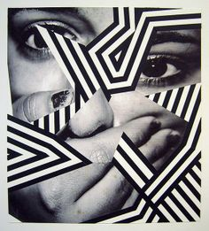 By Anna Higgie. I like the patterns merged within the picture of a person and i would like to experiment with fragments of people featuring something else eg patterns i like how the different fragments are in a black and white pattern Photomontage, Claude Monet, Collage Art, Collages, Photoshop, Design Graphique, Arte Pop, Art Plastique, Op Art