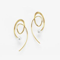 Earrings Open Circle with Pearl at Bottom