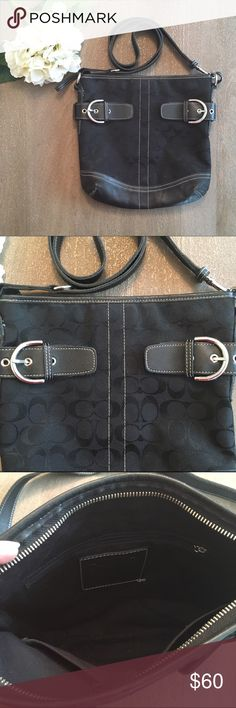 "Genuine Coach cross body bag Genuine black Coach cross body bag. Body is canvas with Coach signature logo and leather embellishments. About 11"" tall and 11"" wide. Strap (when fully straight) about 42"". Excellent condition! Coach Bags Crossbody Bags"
